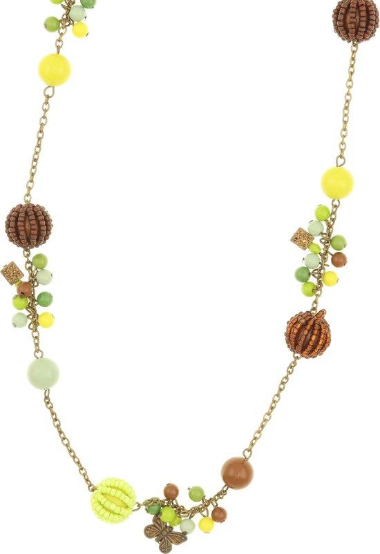 Behave® Dames lange ketting groen met kralen en vlinder hangers 120 cm