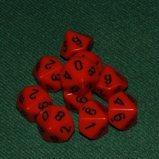Afbeelding van het spel 10 Vlakken Tienzijdige Dobbelstenen Oranje met Zwart 16mm Set van 6 Stuks