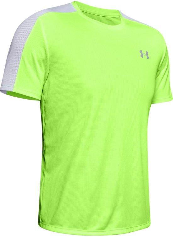 Under Armour Speed Stride Shortsleeve Heren Hardloopshirt - Lime Light - Maat L
