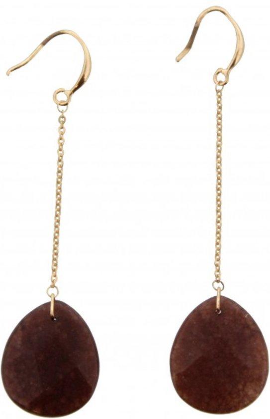 Oorbellen hangers goud met lange ketting en daaronder bruine steen. 7 x 2 cm.