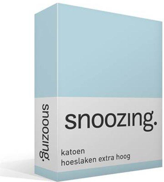 Snoozing - Katoen - Hoeslaken - Eenpersoons - 90x210 cm - Hemel