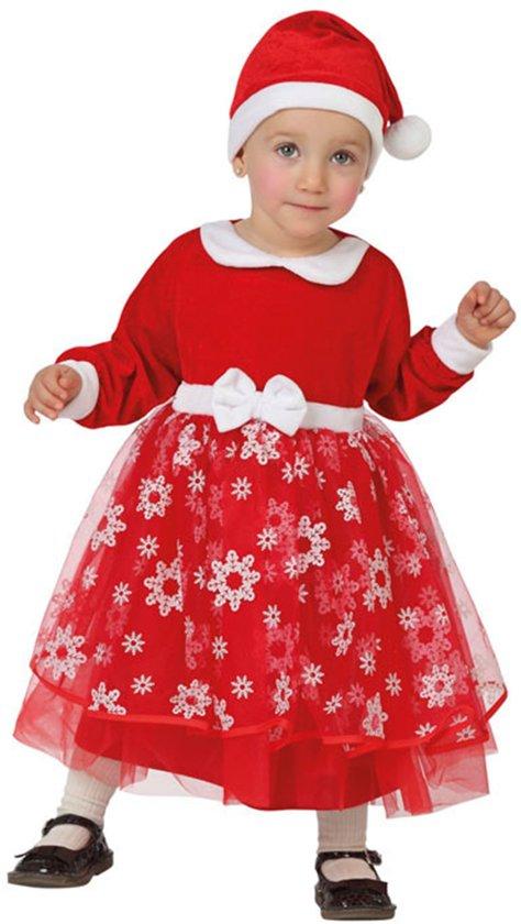 Rood kerstvrouw kostuum met sneeuwvlokken voor baby's - Verkleedkleding