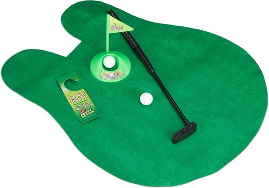 Golf Wc Mat.Relaxdays Toilet Golf Minigolf Voor Wc Toiletspel Toiletten Golf Met Wc Mat Groen