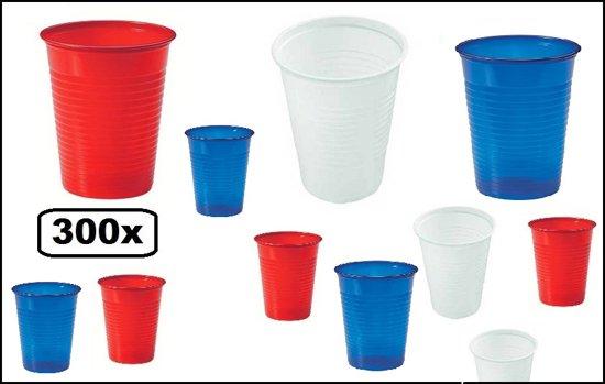 300x Plastic beker rood/wit/blauw