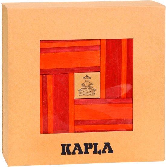 KAPLA Kleur + Voorbeeldboek - 40 Plankjes - Rood & Oranje