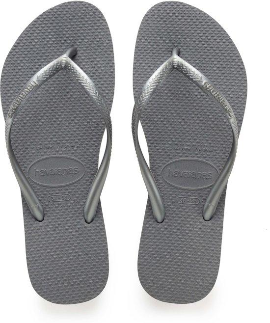 Havaianas Slim Slippers Dames  Slippers - Maat 39/40 - Vrouwen - grijs