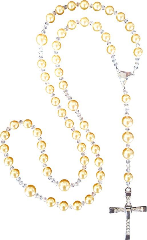 Rozenkrans van Swarovski parels en Swarovski kristallen.