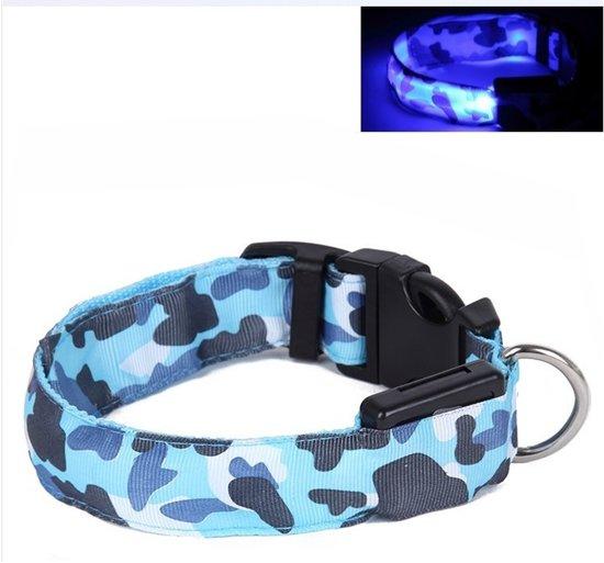 LED Halsband Camo BLAUW maat XL