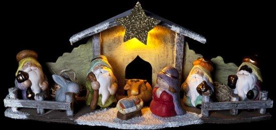 Kerststal hout - 46 x15 x 20 cm (met LED verlichting)