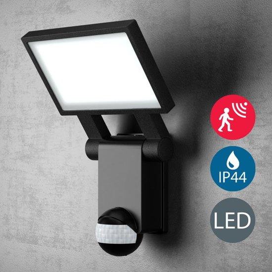 B.K.Licht LED buitenlamp met bewegingssensor en schemersensor - continu licht functie - 20W 2000LM - 4000K neutraal wit licht - zwart