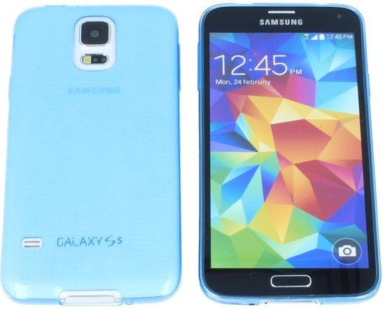 Samsung Galaxy S5 0.3 mm Ultra Thin Matte Soft Back Skin case Transparant Licht Blauw Light Blue