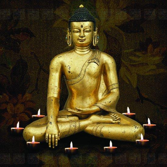Tuinposter 8 Candles and Buddha met 8 led lampjes - 40 x 40 cm