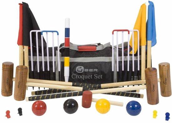 Engelse Tuin Croquet Set, prachtige originele set, 4-persoons, heerlijk tuinkrocket, tuincroquet spel.