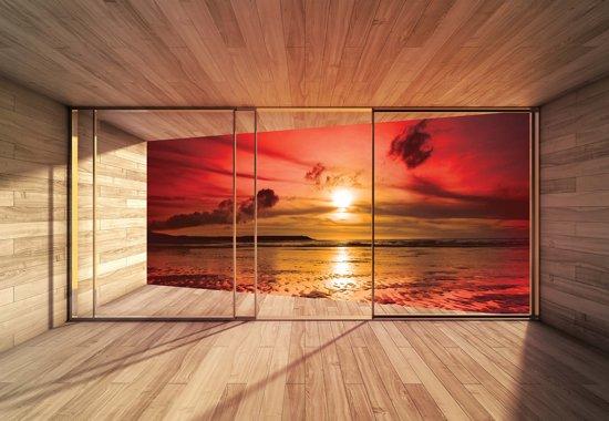 Fotobehang Window Beach Sunset Sun Clouds | XXL - 312cm x 219cm | 130g/m2 Vlies