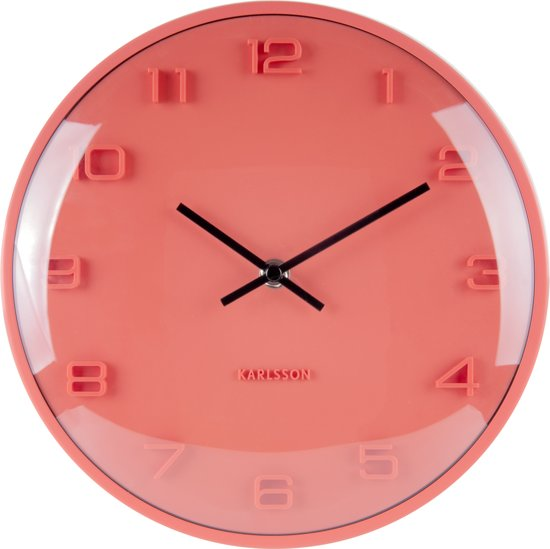 Wall clock Elevated orange dome glass