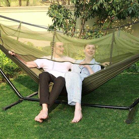 Ultralichte Hangmat Met Klamboe & Bevestigingsset - Outdoor Survival Hammock Met Muskietnet & Karabijnhaken - 2 Persoons - 300 KG Belastbaar
