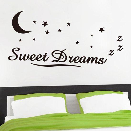 muursticker tekst sweet dreams maan en sterren muurdecoratie kinderkamer slaapkamer 58x117cm