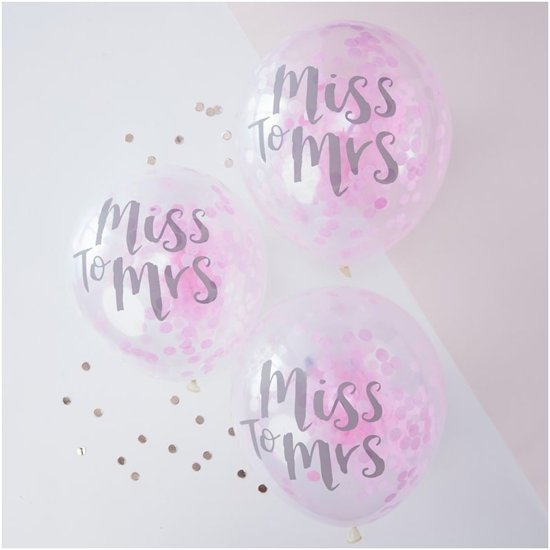 Ginger Ray Team Bride - 'Miss to Mrs' ballon gevuld met roze confetti Ø 28 cm - Set-5 Valentinaa