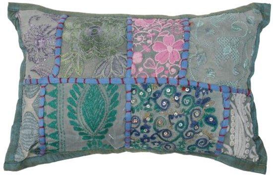 Bol kussen india patchwork pastel groen blauw cm