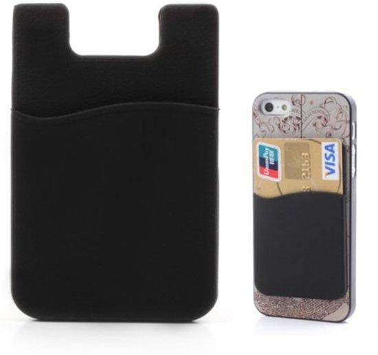 Opplakbare pasjeshouder - Silicone hoesje voor op telefoon - Universele Cardholder Zwart