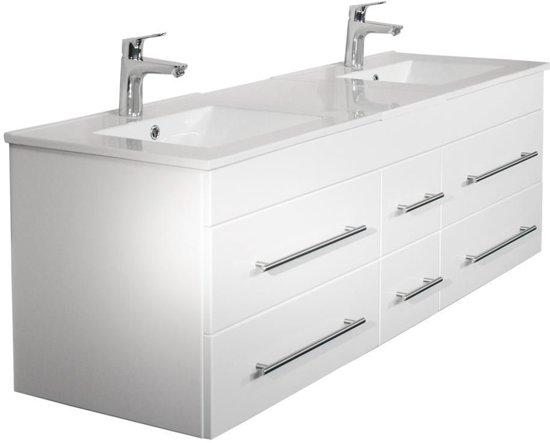 Bol.com saniclear ophelia dubbel badkamermeubel 150 hoogglans wit