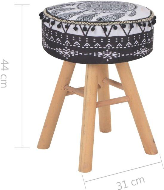 Stijlvolle krukje Stof Zwart Wit met Patronen / zit kruk/ Poef Kruk met houten poten