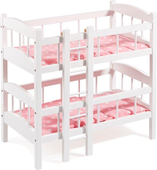 "howa Poppen Stapelbed ""Stars"" hout met beddengoed wit / roze 2440"