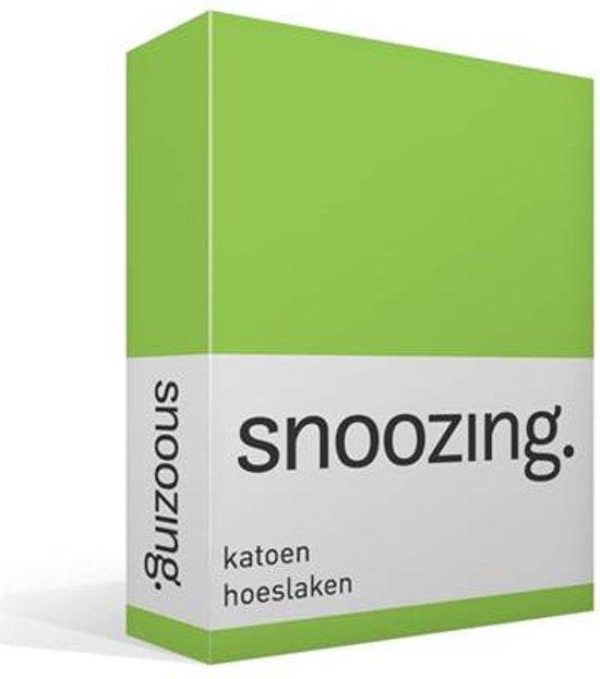 Snoozing - Katoen - Hoeslaken - Lits-jumeaux - 200x200 cm - Lime