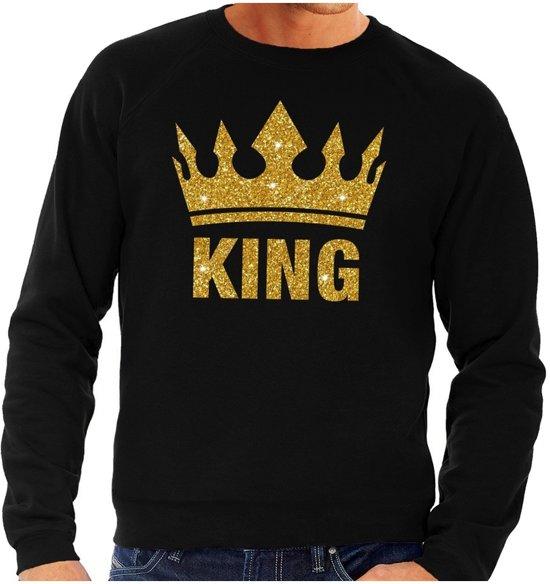 Zwarte Heren Trui.Bol Com Zwarte King Gouden Glitter Kroon Sweater Trui Heren