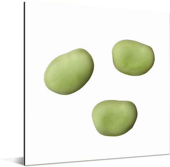 Close-up van drie tuinbonen Aluminium 50x50 cm - Foto print op Aluminium (metaal wanddecoratie)