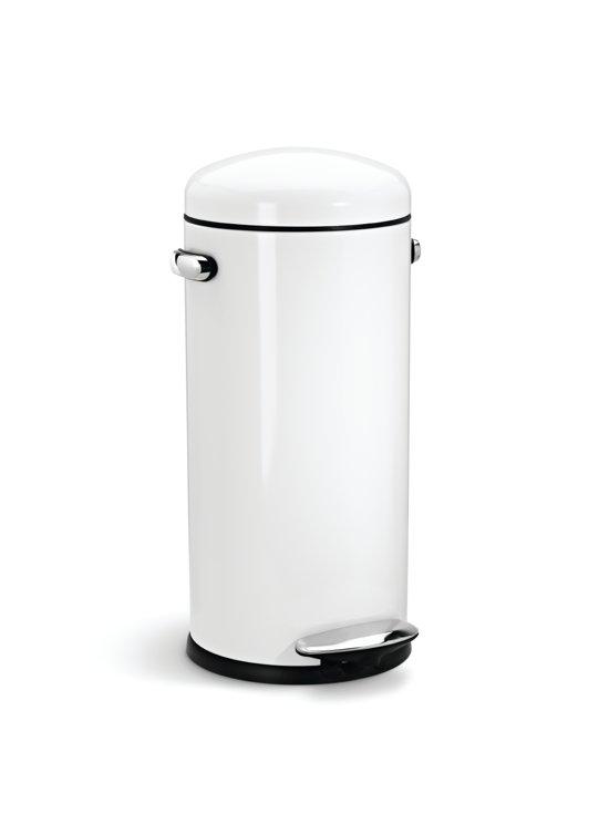 Simplehuman Retro Pedaalemmer Rvs 30 Liter.Simplehuman Round Retro Prullenbak 30 L Wit