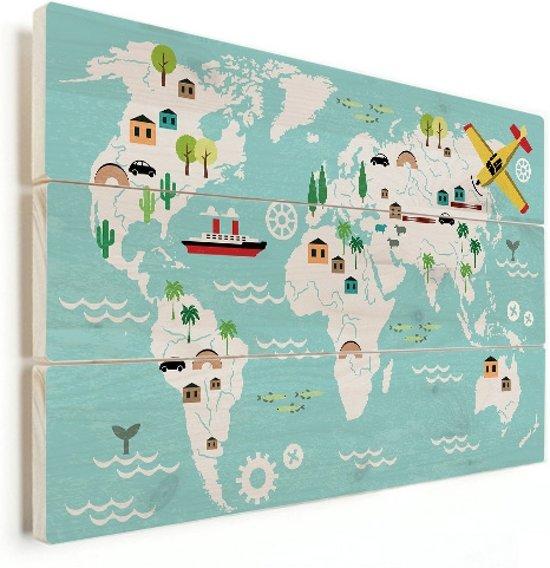 Wereldkaart voor kinderen vurenhout muur decoratie klein 40x30 cm   Wereldkaart Hout
