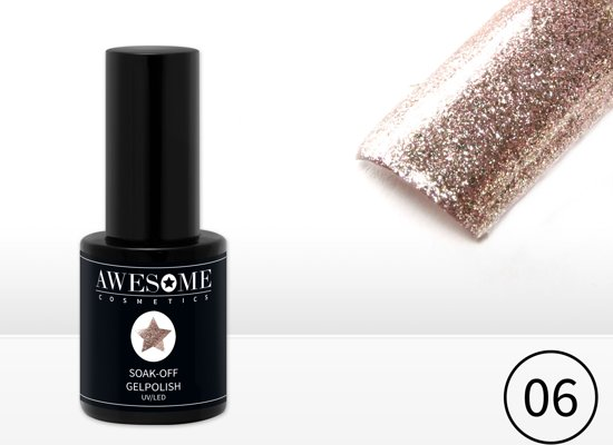 Awesome #06 Champagne met fijne glitter Gelpolish - Gellak - Gel nagellak - UV & LED
