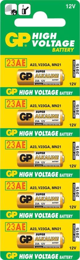 5 stuks GP 23A , MN21, A23, V23GA - 12volt  ALKALINE BATTERIJ