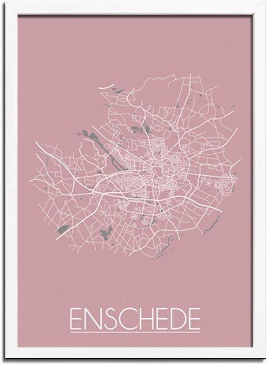DesignClaud Enschede Plattegrond poster Roze A4 + Fotolijst wit