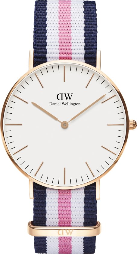 Daniel Wellington Classic Southampton DW00100034 - Horloge - NATO - Blauw/Roze/Wit - Ø 36mm - Blauw/Roze/Wit