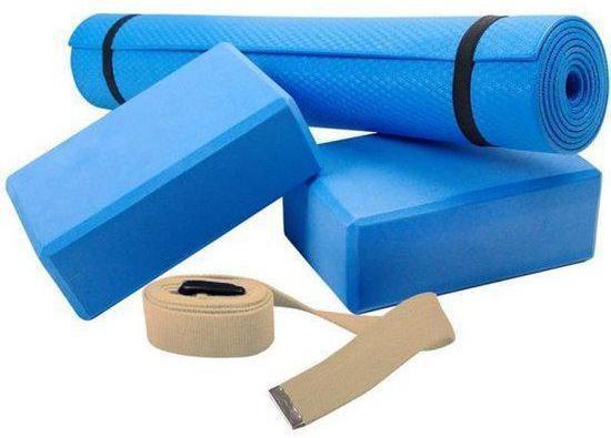 ScSports - Yogaset 4 delig - Yoga Set - Pilates set voor beginners - oprolbare mat - 2 blokken - 1 cream canvas riem met gesp - Blauw-Cream + gratis  Slazenger Toning tube groen