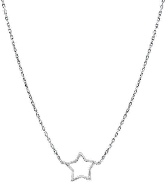 Lucardi - Zilveren ketting rhodiumplated open ster