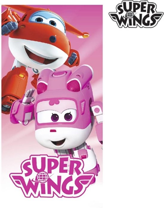 Super Wings Roze Strandhanddoek