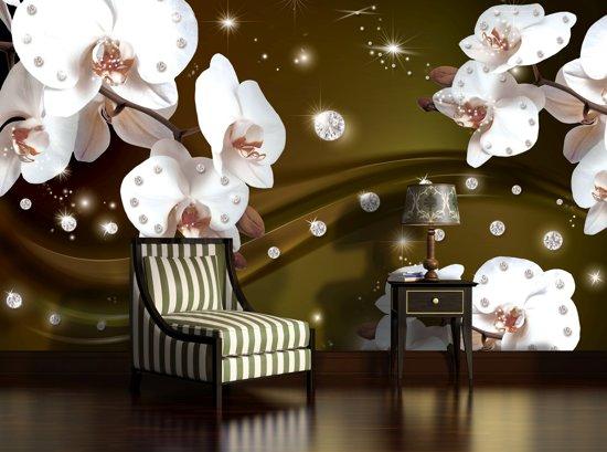 Fotobehang Papier Orchideeën, Bloemen | Wit | 254x184cm