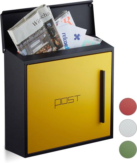 relaxdays brievenbus modern, twee kleurig design, A4-formaat, wandbrievenbus
