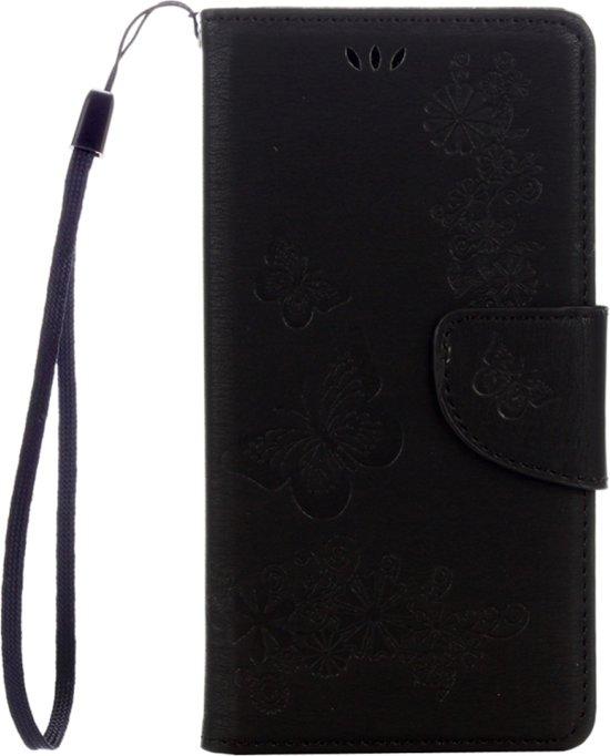 Voor Sony Xperia XZ Power Vlinders Embossing horizontaal Flip lederen hoesje met houder & opbergruimte voor pinpassen & portemonnee & Lanyard(zwart)