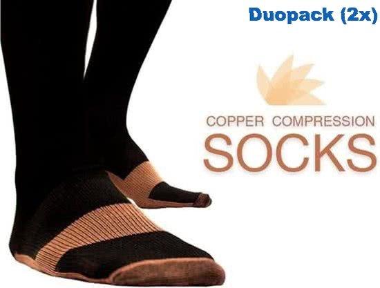 Duopack (2x) compressie sokken zwart koper - Compressie kousen - Vliegtuig sokken - Steunkousen reis - Maat 36-41