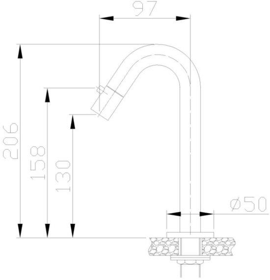 Frank&Co Metro fonteinkraan mat zwart