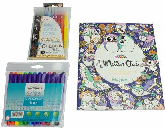 Afbeelding van A Million Owls Kleurboek voor Volwassenen Set A040049 - inclusief markers