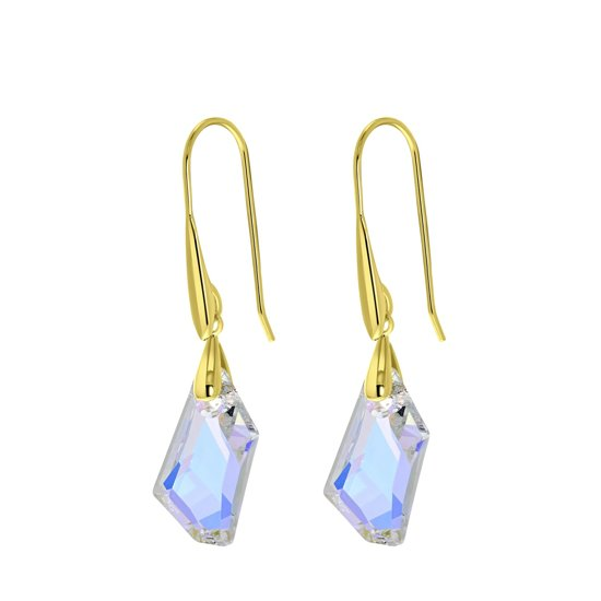 Lucardi Oorbellen - Zilveren oorbellen gold Swarovski kristal AB
