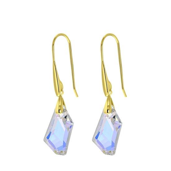 Lucardi - Zilveren oorbellen gold Swarovski kristal AB