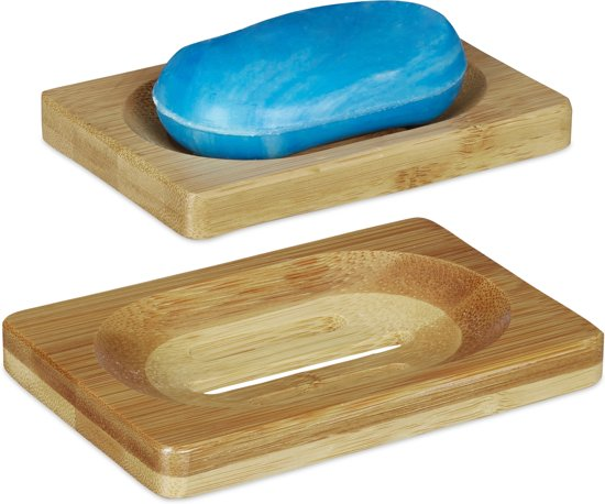 relaxdays zeepbakje bamboe - set van 2 - zeephouder - zeepschaaltje