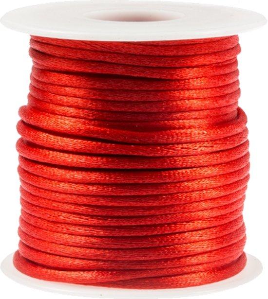Satijnkoord (2 mm) Red (25 Meter)