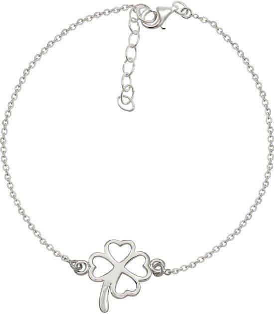 La Rosa Princesa - Lucky Clover Armband - Zilver - 16-19 cm verstelbaar